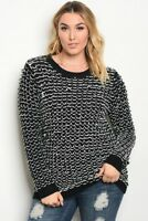 Plus Size Women's Fashion Top Long Sleeve  Black White Crochet Style