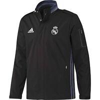 Adidas Real Madrid Voyage Veste NOIR POU HOMMES Foot Hiver Chaud Coupe-Vent Liga