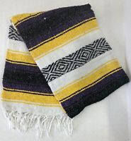FALSA Mexican Blanket Hand Woven RASTA Serape Throw Yoga Mat LAKERS COLOR Yellow