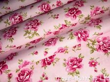 PRETTY ROSE AND HUBBLE PINK FLORAL PRINT FABRIC 100% COTTON FAT QUARTERS