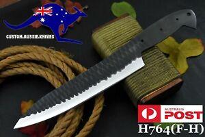 Custom Hammered Spring Steel 5160 Blank Blade Chef Knife, No Damascus (H764-F)