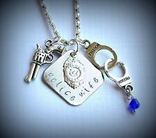 POLICE WIFE Hand Stamped Necklace proud brave law enforcement gun handcuffs gift