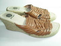 WOMENS BROWN RUST WOVEN LEATHER SLIDES SANDALS HEELS WEDGE SHOES SIZE 7.5 M