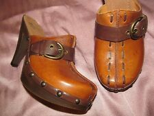 NEW Retro hippie Brown leather High heel Clog Mules WHITE MOUNTAIN women's 7.5 M