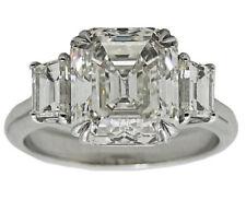 3 Stone Emerald Cut 2.00 Carat GIA Certified Diamond Engagement Ring Platinum