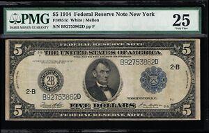 AFFORDABLE GENUINE FR #851c 1914 WHITE MELLON PMG GRADED VERY FINE 25 FRN NY
