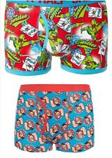 Mens Character Boxer Shorts 2 x Pairs 1 of each Design Size S New