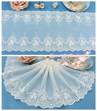 """8""""*1y Embroidered Floral Tulle Lace Trim Ivory White Romantic Miracle Wedding"""