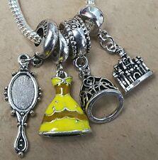 Disney Princess Belle Dress Tiara Enchanted Mirror Castle European Bead Charms