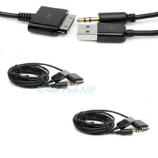 2X 4FT USB 3.5MM AUX AUDIO SYNC CHARGER BLACK CABLE IPHONE 4S 4 3GS 3G IPOD IPAD