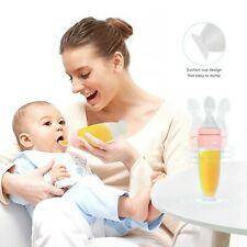 US Baby Silicone Squeeze Feeding Bottle With Spoon Food Rice Cereal Feeder 90ml