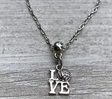 Love Volleyball Charm Necklace, Volleyball Jewelry Gift for Women and Girls
