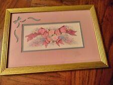 "Framed  Gamboa  Print  Pink Roses and Ribbion  13 x 9"""