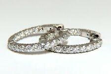2.34ct natural round diamonds inside out hoop earrings button 14 karat