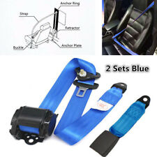 2 Sets Universal Retractable Adjustable 3 Point Car Safety Seat Lap Belt Set Kit