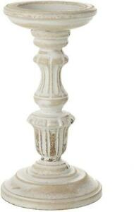 White Washed Ornate Wooden Candle Holders