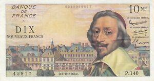 Billet 10 F Richelieu du 1-12-1960 FAY 57.12 alph. P.140