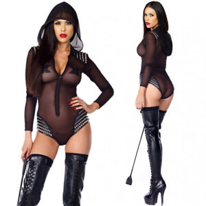 Womens Lace  Sheer Rivet  Bodysuit Teddy Babydoll Zipper Front Bodycon Lingerie