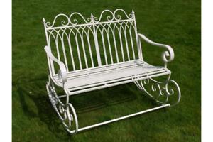 Garden Rocking Bench Cream Shabby Chic Vintage Style aged Seat Shabby Chic