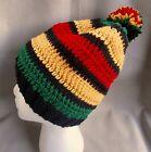 Handmade knit/crochet Rasta Hat/beanie - black, red, gold, & green stripes