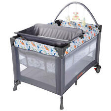 Portable Baby Playard with Removable Bassinet and Changing Table Grey