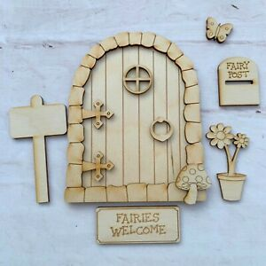 Plywood FAIRY DOOR with accessories 12cm high Ready to Decorate laser cut SH