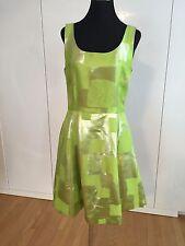 $3290 New Oscar de la Renta Silk Metallic Gold Lime Green Dress,size 10