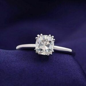 14K White Gold Over 1ct Cushion cut Diamond Solitaire Engagement Wedding Ring