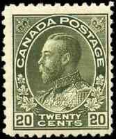 Canada #119c mint F OG 1912 King George V 20c dark olive green Admiral Wet Print
