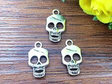 5pcs Skull Tibetan Silver Bead charms Pendants DIY jewelry 22x12mm
