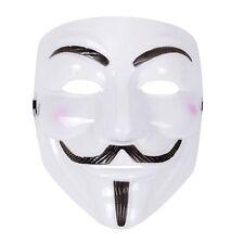 Mens Womens Unisex Anonymous Vendetta Halloween Fancy Dress Mask - White
