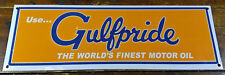 GULF GAS & OIL ORANGE BLUE WHITE GASOLINE PORCELAIN ENAMEL ADVERTISING SIGN