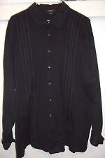Alfani  Black Men's Size XXL Button-Front 100% COTTON WHITE STRIPPED & CUFFS