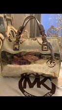 Michael Kors Handbag Jet Set Grayson LG Satchel Monogram Mirror Metallic Gold ❤️
