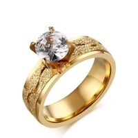 6mm Sand Surface CZ Band Women's 18K Gold Plated Wedding Jewelry Ring Sz 6/7/8/9