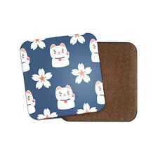Pretty Lucky Cat Coaster - Blue Lotus Flower Cute Chinese Japanese Gift #8729