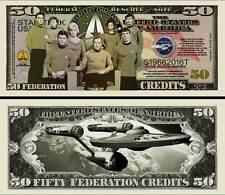Star Trek 50th Anniversary 50 Credits Dollar Bill Fake Funny Money + FREE SLEEVE