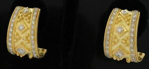 Heavy 18K gold amazing 1.91CTW VS diamond curved earrings