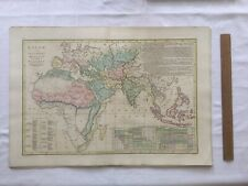 Original Vintage World Map showing the extent of Islam 1817 Wilkinson London