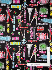 Fashion Couture Designer Model Cotton Fabric Kanvas Studio Jet Set Black - Yard