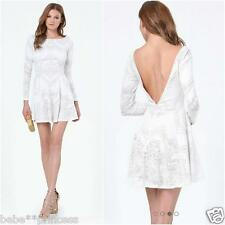 NWT bebe open back long sleeve cream white lace flare party top dress S small 4