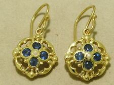 E024 - Genuine SOLID 9ct Gold NATURAL SAPPHIRE & PEARL Blossom Drop Earrings