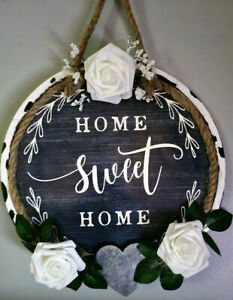 Home Sweet Home Round Wall Hanging Farmhouse Decor Handmade Blue