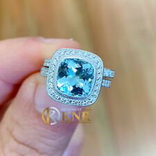 14K WHITE GOLD CUSHION CUT BLUE TOPAZ AND DIAMONDS ENGAGEMENT RING BAND 3.15CTW