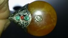 Tibetan Silver & Amber Pendant w/ Turquoise & Coral Accents