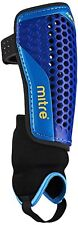 A Mitre Aircell Carbon Ankle Protect Football Shin Pads Blue Cyan Yellow