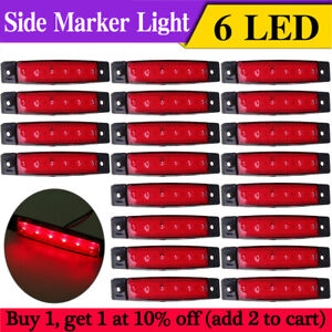 20 X Set Red 6 LED Side Marker Lights Position Recovery For Truck Trailer Lorry