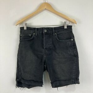 Ksubi Mens Shorts Size 29 Slim Fit Faded Black Denim Button