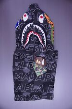 A Bathing Ape 17 SS colore testo Camo Shark Felpa con Cerniera Intera Nero Medio