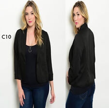 C10 Womens Black Plus Size 14/16 Long Sleeve Blazer Vests Jackets Work Office